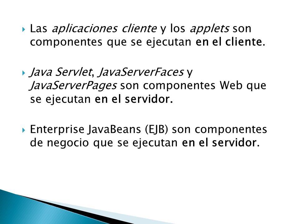 Las aplicaciones cliente y los applets son componentes que se ejecutan en el cliente. Java Servlet, JavaServerFaces y JavaServerPages son componentes