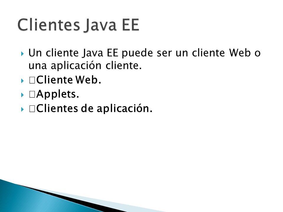 Un cliente Java EE puede ser un cliente Web o una aplicación cliente. Cliente Web. Applets. Clientes de aplicación.
