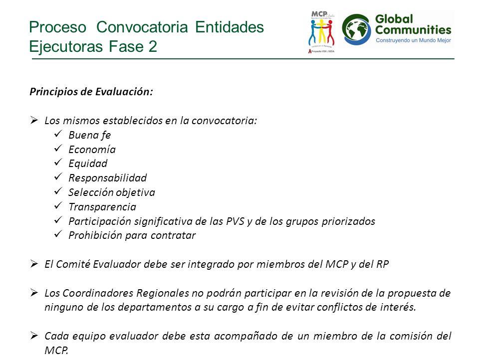 Proceso Convocatoria Entidades Ejecutoras Fase 2 Principios de Evaluación: Los mismos establecidos en la convocatoria: Buena fe Economía Equidad Respo