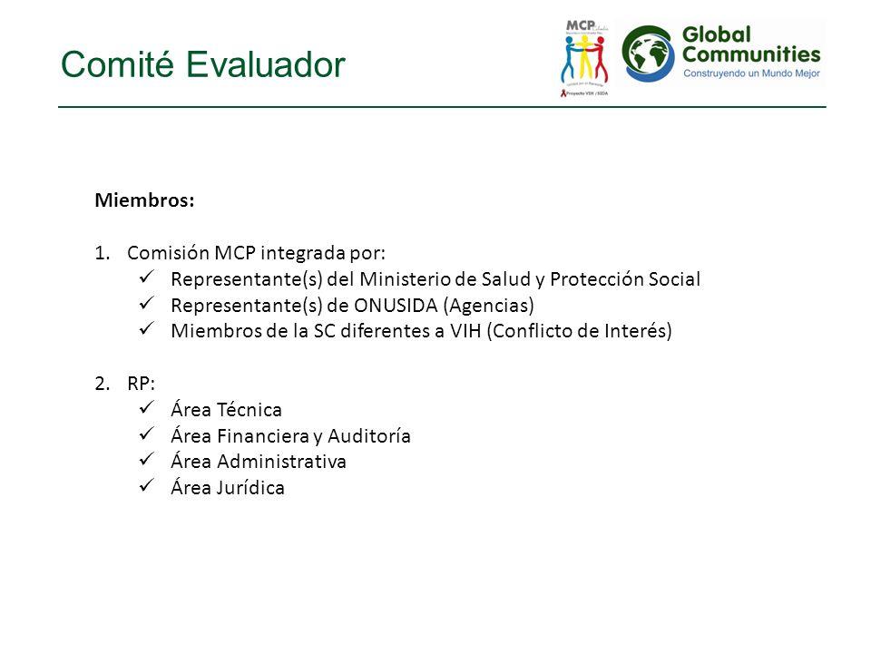 Comité Evaluador Miembros: 1.Comisión MCP integrada por: Representante(s) del Ministerio de Salud y Protección Social Representante(s) de ONUSIDA (Age