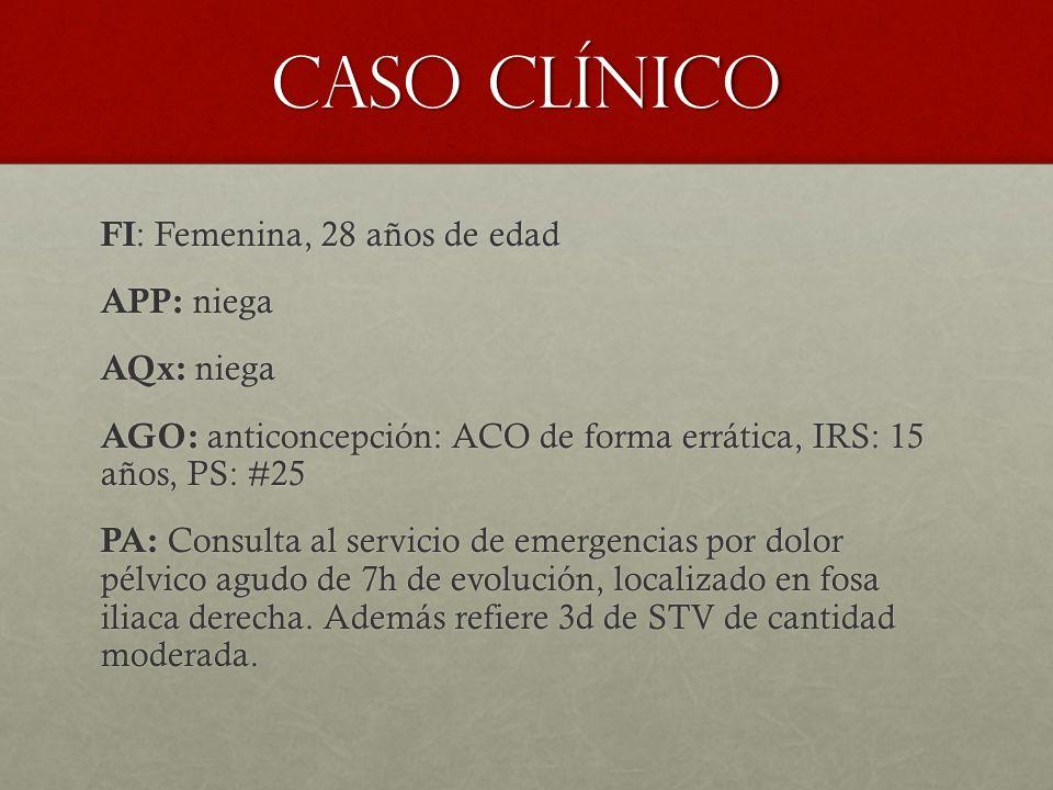 Impresión diagnóstica Embarazo ectópico Embarazo ectópico Amenaza de abortoAmenaza de aborto Aborto incompleto o aborto retenidoAborto incompleto o aborto retenido Hemorragia del cuerpo lúteoHemorragia del cuerpo lúteo EPI/ absceso tuboovaricoEPI/ absceso tuboovarico Apendicitis y cálculos renalesApendicitis y cálculos renales