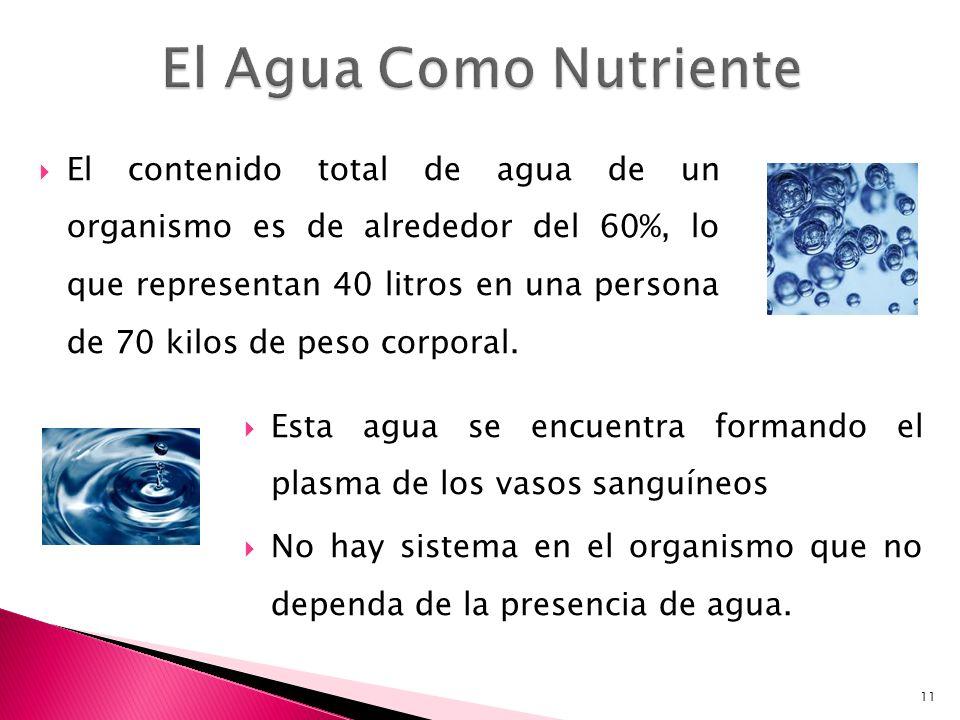 El contenido total de agua de un organismo es de alrededor del 60%, lo que representan 40 litros en una persona de 70 kilos de peso corporal. 11 Esta