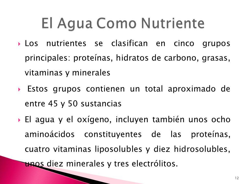Los nutrientes se clasifican en cinco grupos principales: proteínas, hidratos de carbono, grasas, vitaminas y minerales Estos grupos contienen un tota