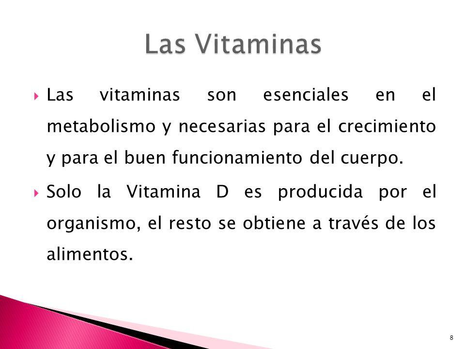 Las vitaminas son esenciales en el metabolismo y necesarias para el crecimiento y para el buen funcionamiento del cuerpo. Solo la Vitamina D es produc