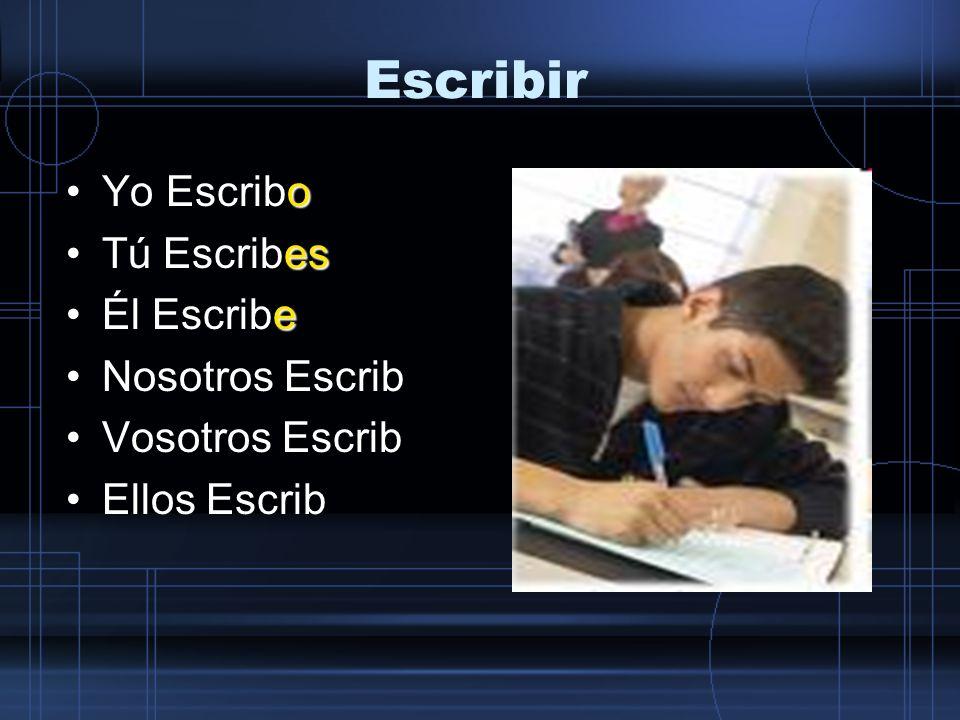 Escribir oYo Escribo esTú Escribes eÉl Escribe imosNosotros Escribimos Vosotros Escrib Ellos Escrib