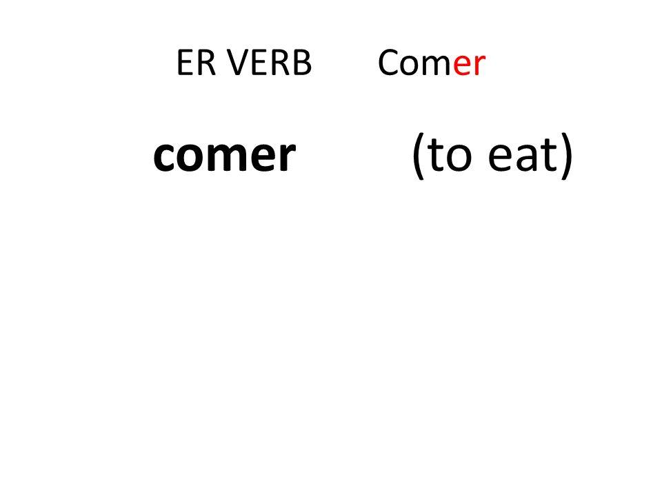 Er Verbs Comer To eat To conjugate -er verbs, drop the ending and add: Yo com-o Tú com-es él,ella,usted com-e nosotros/as com-emos vosotros/as com -éis Ellos/as/ustedes com -en