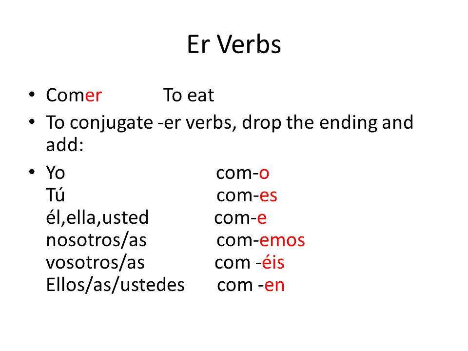 Er Verbs Comer To eat To conjugate -er verbs, drop the ending and add: Yo com-o Tú com-es él,ella,usted com-e nosotros/as com-emos vosotros/as com -éi
