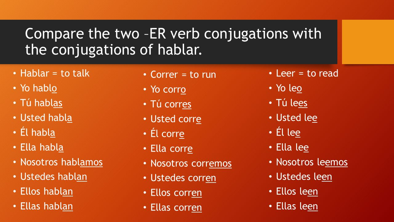 What are the similarities between the –AR and –ER verb conjugation endings.