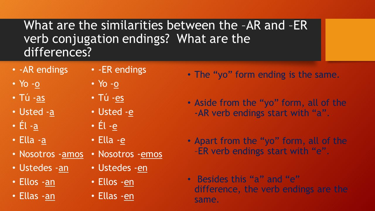 Same rules apply… Before adding verb conjugation endings you must take off the last two letters of the infinitive.
