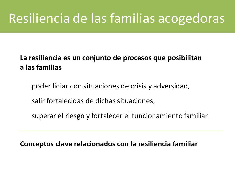 La resiliencia es un conjunto de procesos que posibilitan a las familias poder lidiar con situaciones de crisis y adversidad, salir fortalecidas de dichas situaciones, superar el riesgo y fortalecer el funcionamiento familiar.