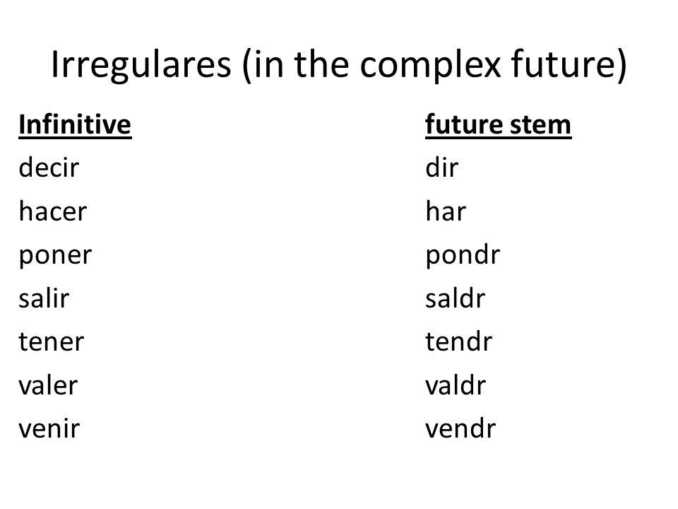 Irregulares (in the complex future) Infinitivefuture stem decirdir hacerhar ponerpondr salirsaldr tenertendr valervaldr venirvendr