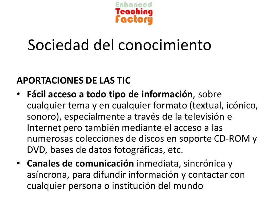 Sociedad del conocimiento APORTACIONES DE LAS TIC Fácil acceso a todo tipo de información, sobre cualquier tema y en cualquier formato (textual, icóni