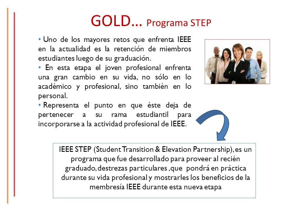 GOLD… Programa STEP IEEE STEP (Student Transition & Elevation Partnership), es un programa que fue desarrollado para proveer al recién graduado, destrezas particulares,que pondrá en práctica durante su vida profesional y mostrarles los beneficios de la membresía IEEE durante esta nueva etapa Uno de los mayores retos que enfrenta IEEE en la actualidad es la retención de miembros estudiantes luego de su graduación.