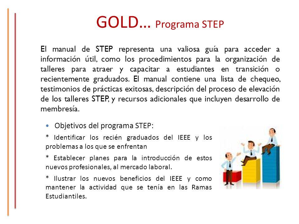 GOLD… Programa STEP El manual de STEP representa una valiosa guía para acceder a información útil, como los procedimientos para la organización de talleres para atraer y capacitar a estudiantes en transición o recientemente graduados.