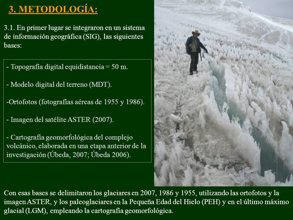 3. METODOLOGÍA: 3.1. En primer lugar se integraron en un sistema de información geográfica (SIG), las siguientes bases: - Topografía digital equidista