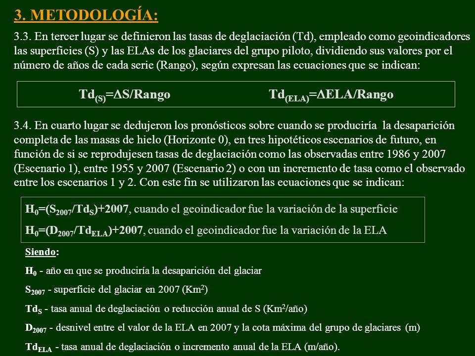 3.3. En tercer lugar se definieron las tasas de deglaciación (Td), empleado como geoindicadores las superficies (S) y las ELAs de los glaciares del gr
