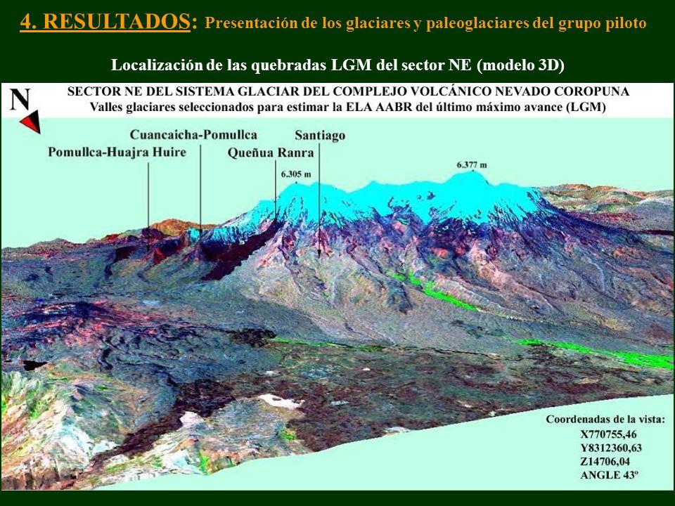 4. RESULTADOS: Presentación de los glaciares y paleoglaciares del grupo piloto Localización de las quebradas LGM del sector NE (modelo 3D)