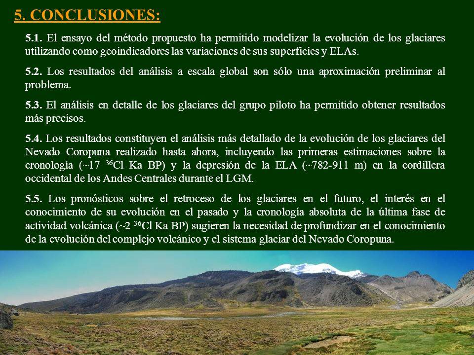 5. CONCLUSIONES: 5.1. El ensayo del método propuesto ha permitido modelizar la evolución de los glaciares utilizando como geoindicadores las variacion