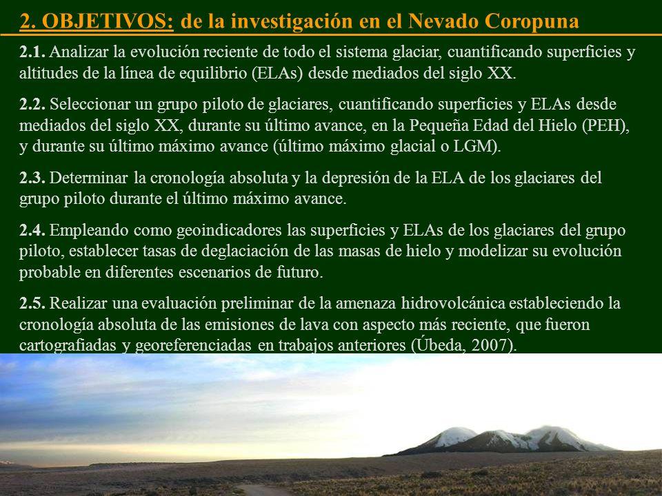 2. OBJETIVOS: de la investigación en el Nevado Coropuna 2.1. Analizar la evolución reciente de todo el sistema glaciar, cuantificando superficies y al