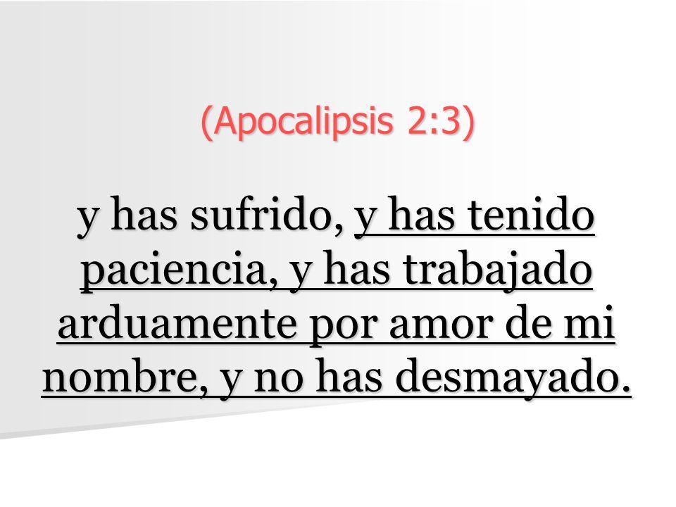 (Apocalipsis 2:3) y has sufrido, y has tenido paciencia, y has trabajado arduamente por amor de mi nombre, y no has desmayado.