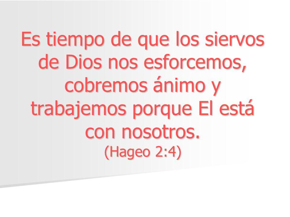 Es tiempo de que los siervos de Dios nos esforcemos, cobremos ánimo y trabajemos porque El está con nosotros. (Hageo 2:4)