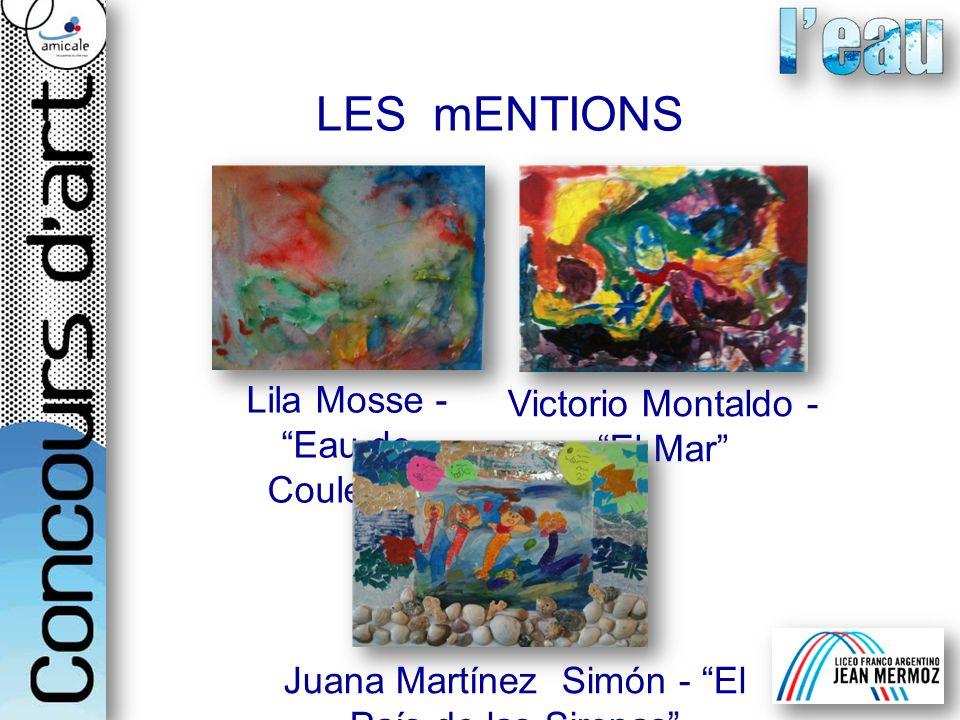 Lila Mosse -Eau de Couleurs Victorio Montaldo -El Mar Juana Martínez Simón - El País de las Sirenas LES mENTIONS