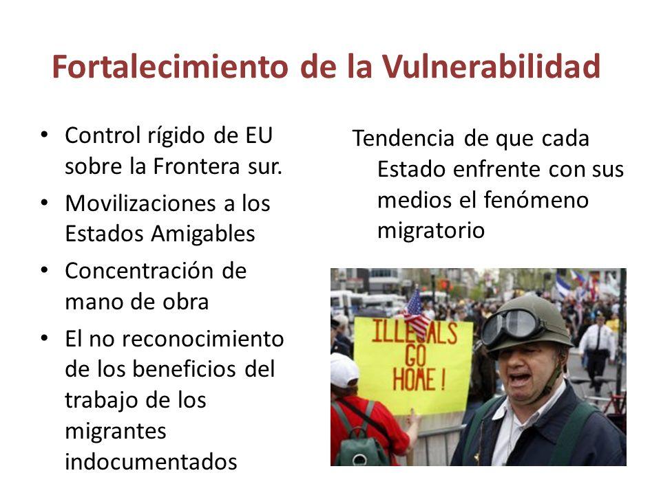 Fortalecimiento de la Vulnerabilidad Control rígido de EU sobre la Frontera sur.