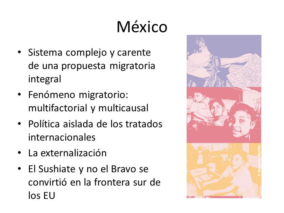 México Sistema complejo y carente de una propuesta migratoria integral Fenómeno migratorio: multifactorial y multicausal Política aislada de los tratados internacionales La externalización El Sushiate y no el Bravo se convirtió en la frontera sur de los EU