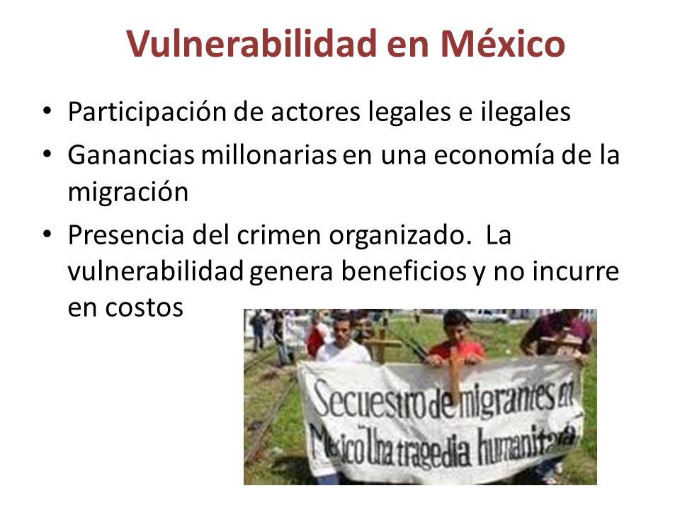 Vulnerabilidad en México Participación de actores legales e ilegales Ganancias millonarias en una economía de la migración Presencia del crimen organizado.