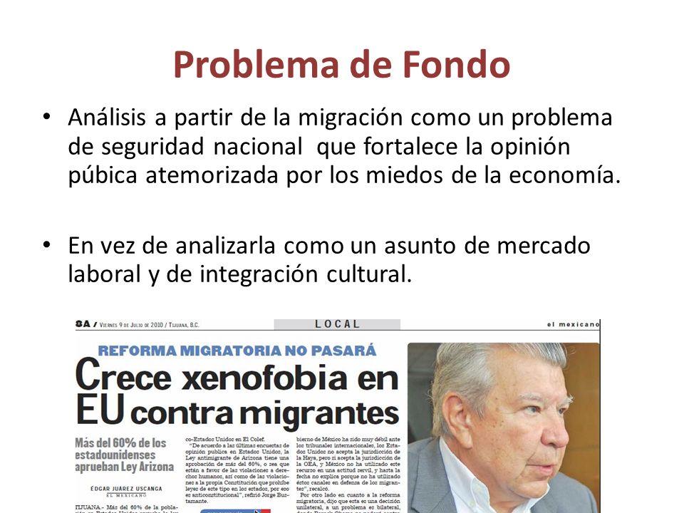 Problema de Fondo Análisis a partir de la migración como un problema de seguridad nacional que fortalece la opinión púbica atemorizada por los miedos de la economía.