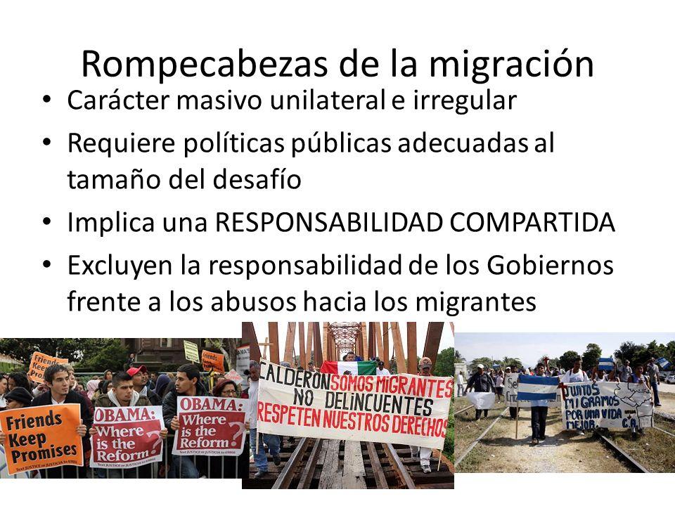 Rompecabezas de la migración Carácter masivo unilateral e irregular Requiere políticas públicas adecuadas al tamaño del desafío Implica una RESPONSABILIDAD COMPARTIDA Excluyen la responsabilidad de los Gobiernos frente a los abusos hacia los migrantes