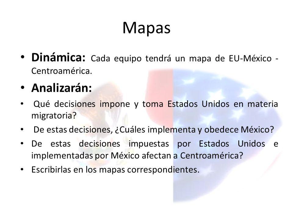 Mapas Dinámica: Cada equipo tendrá un mapa de EU-México - Centroamérica.