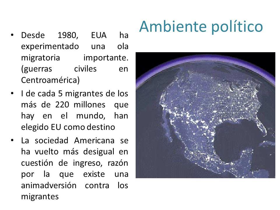 Ambiente político Desde 1980, EUA ha experimentado una ola migratoria importante.