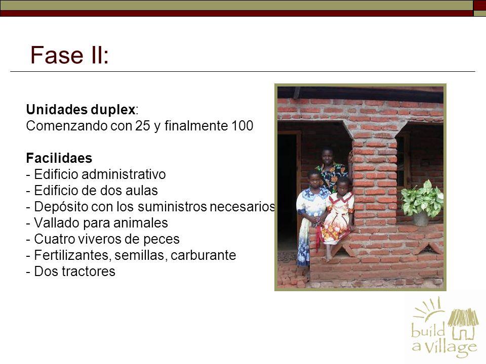 Unidades duplex: Comenzando con 25 y finalmente 100 Facilidaes - Edificio administrativo - Edificio de dos aulas - Depósito con los suministros necesarios - Vallado para animales - Cuatro viveros de peces - Fertilizantes, semillas, carburante - Dos tractores Fase II:
