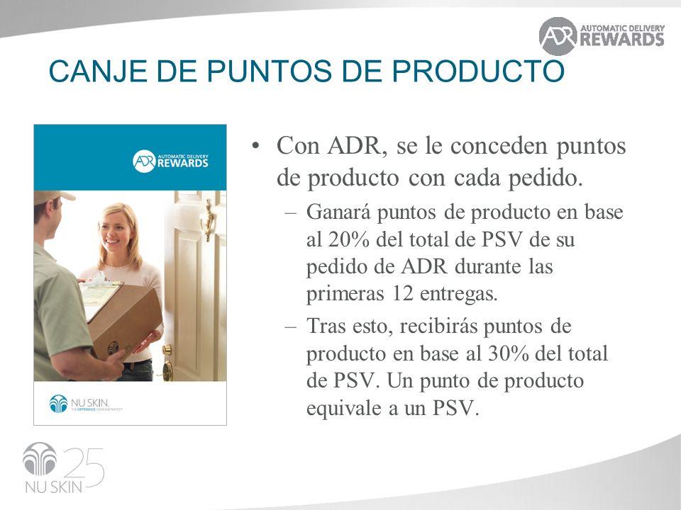 CANJE DE PUNTOS DE PRODUCTO Con ADR, se le conceden puntos de producto con cada pedido. –Ganará puntos de producto en base al 20% del total de PSV de