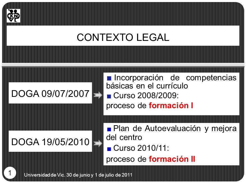CONTEXTO LEGAL DOGA 09/07/2007 Universidad de Vic. 30 de junio y 1 de julio de 2011 1 Incorporación de competencias básicas en el currículo Curso 2008
