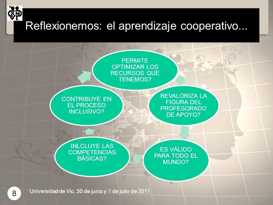 Reflexionemos: el aprendizaje cooperativo... PERMITE OPTIMIZAR LOS RECURSOS QUE TENEMOS? REVALORIZA LA FIGURA DEL PROFESORADO DE APOYO? ES VÁLIDO PARA