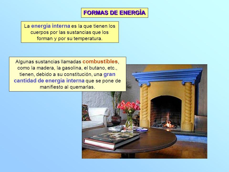 La energía interna es la que tienen los cuerpos por las sustancias que los forman y por su temperatura. Algunas sustancias llamadas combustibles, como