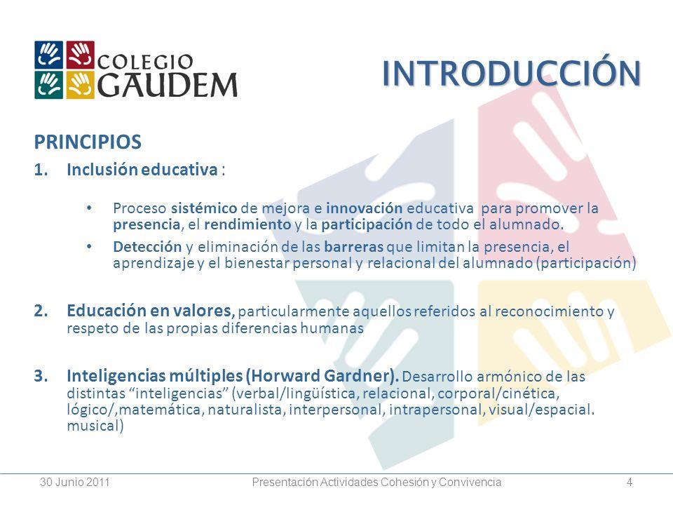 4 INTRODUCCIÓN PRINCIPIOS 1.Inclusión educativa : Proceso sistémico de mejora e innovación educativa para promover la presencia, el rendimiento y la p