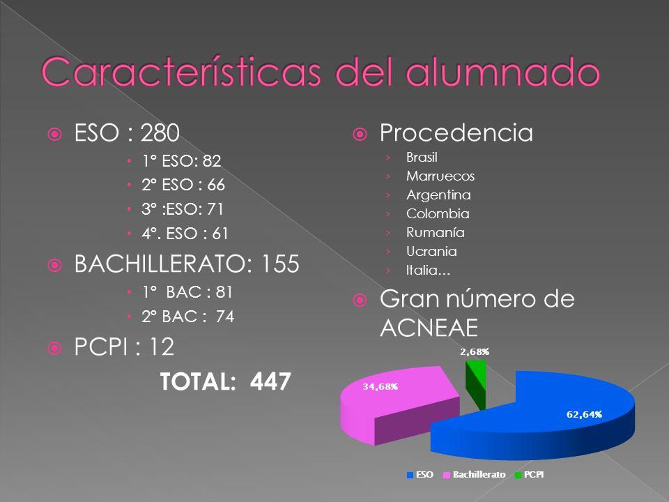 ESO : 280 1º ESO: 82 2º ESO : 66 3º :ESO: 71 4º. ESO : 61 BACHILLERATO: 155 1º BAC : 81 2º BAC : 74 PCPI : 12 TOTAL: 447 Procedencia Brasil Marruecos