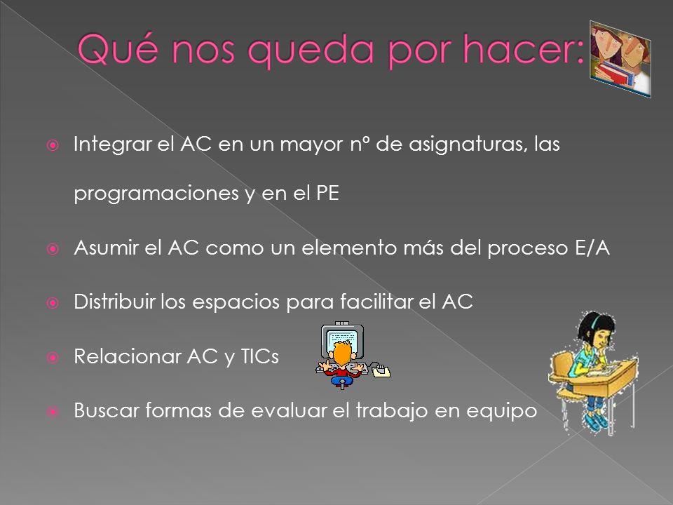 Integrar el AC en un mayor nº de asignaturas, las programaciones y en el PE Asumir el AC como un elemento más del proceso E/A Distribuir los espacios