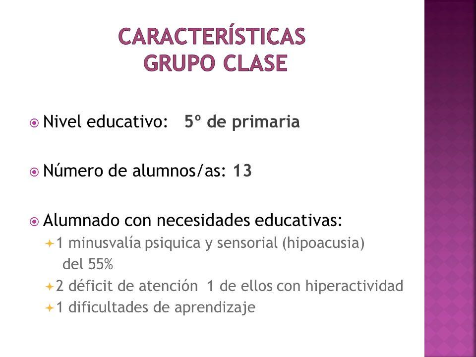 Nivel educativo: 5º de primaria Número de alumnos/as: 13 Alumnado con necesidades educativas: 1 minusvalía psiquica y sensorial (hipoacusia) del 55% 2
