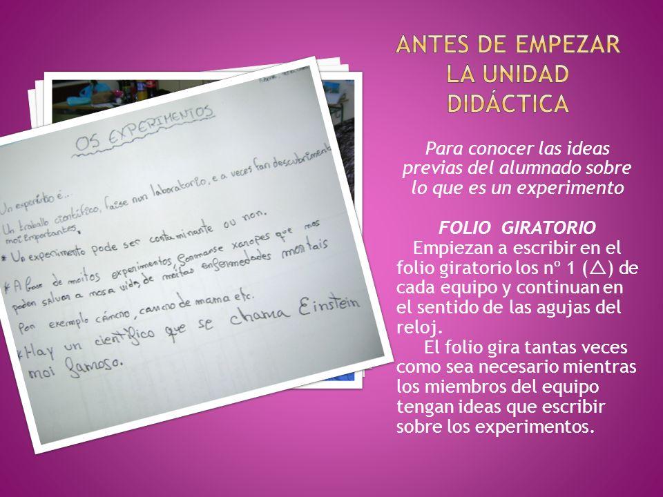 Para conocer las ideas previas del alumnado sobre lo que es un experimento FOLIO GIRATORIO Empiezan a escribir en el folio giratorio los nº 1 ( ) de c