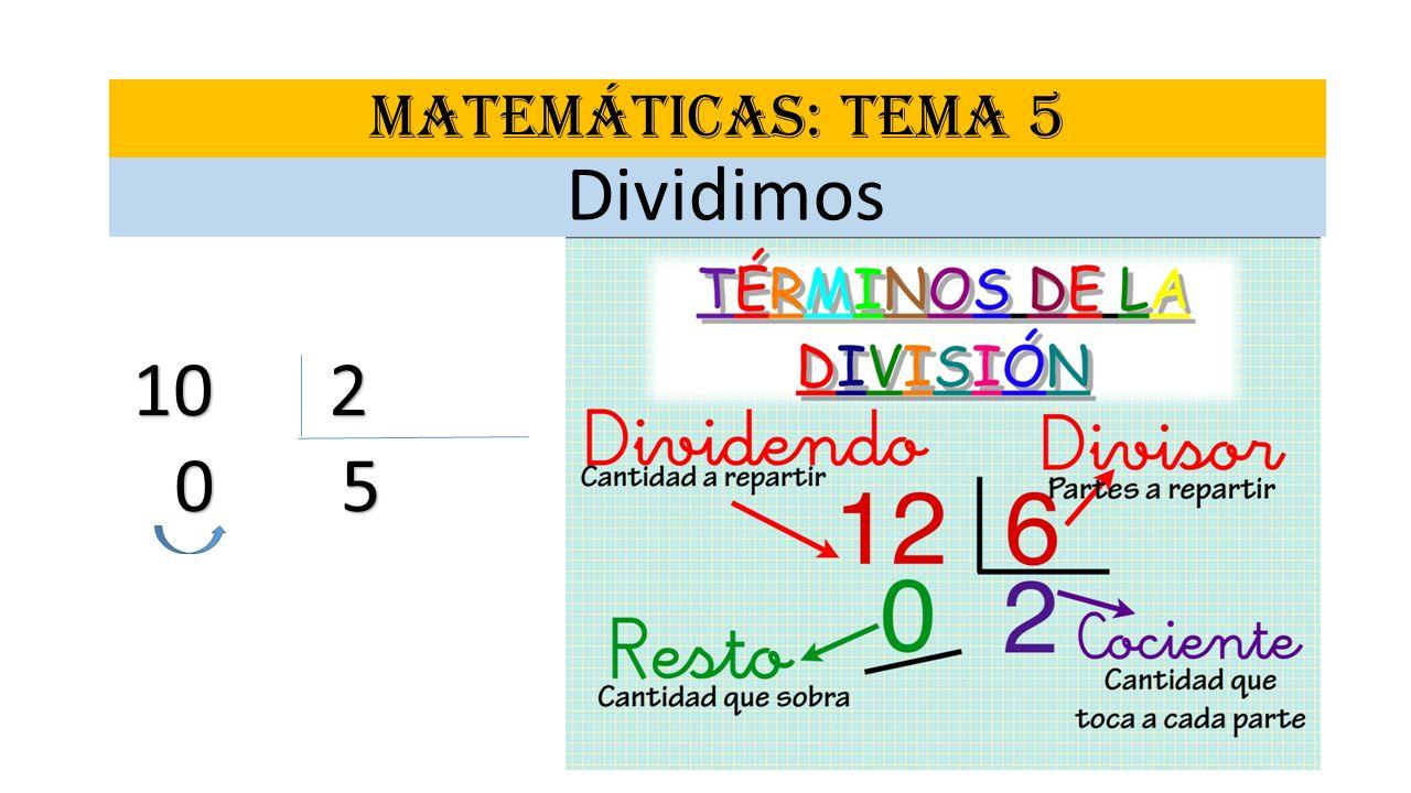MATEMÁTICAS: TEMA 5 Dividimos 10 2 0 5 0 5