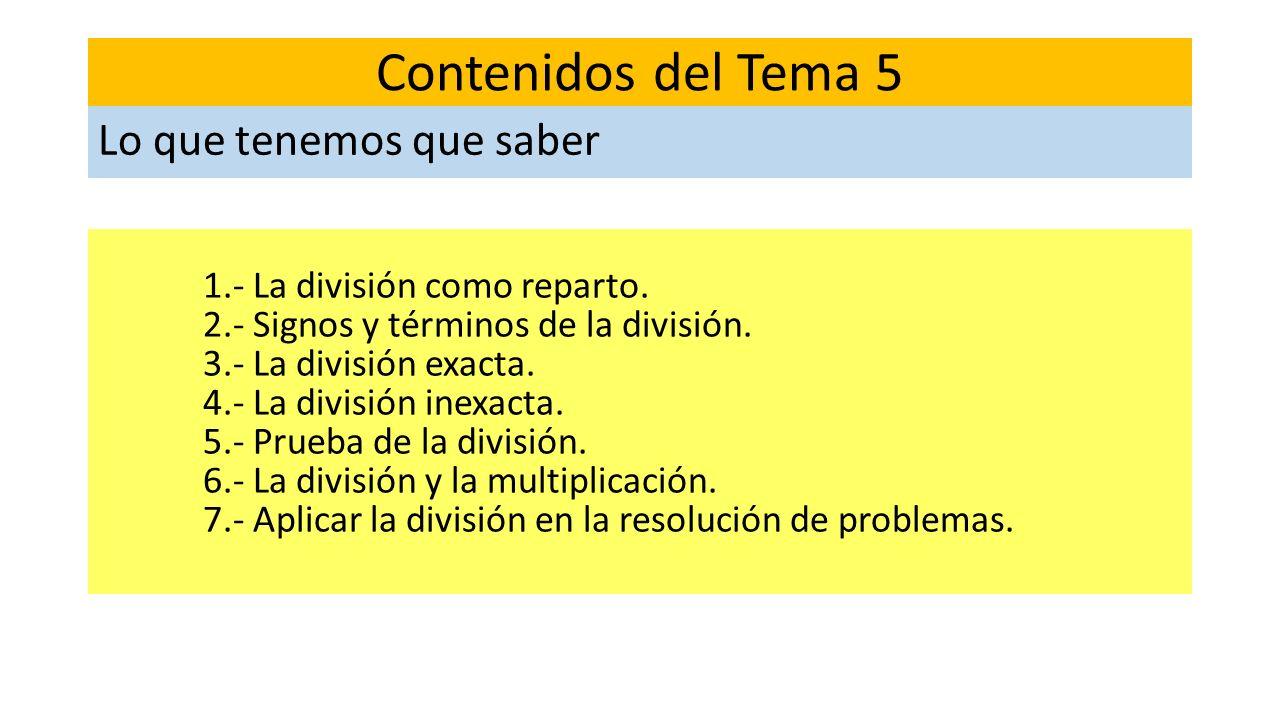 1.- La división como reparto. 2.- Signos y términos de la división. 3.- La división exacta. 4.- La división inexacta. 5.- Prueba de la división. 6.- L
