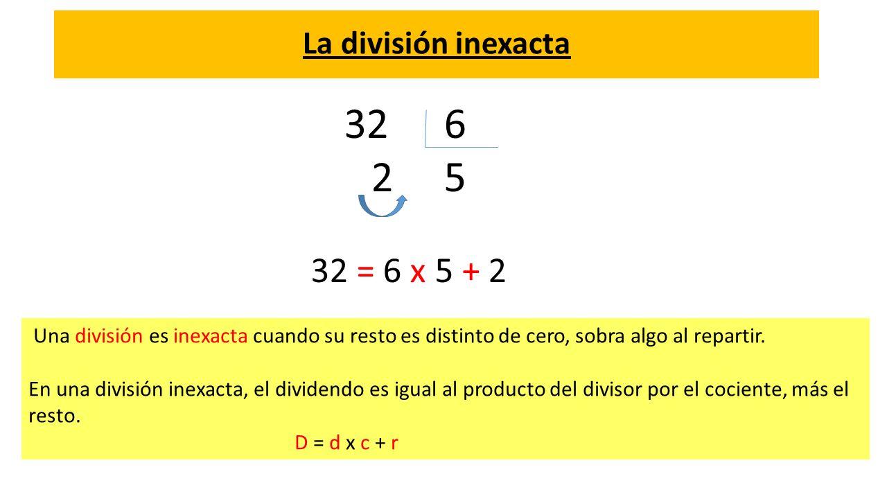 La división inexacta Una división es inexacta cuando su resto es distinto de cero, sobra algo al repartir. En una división inexacta, el dividendo es i