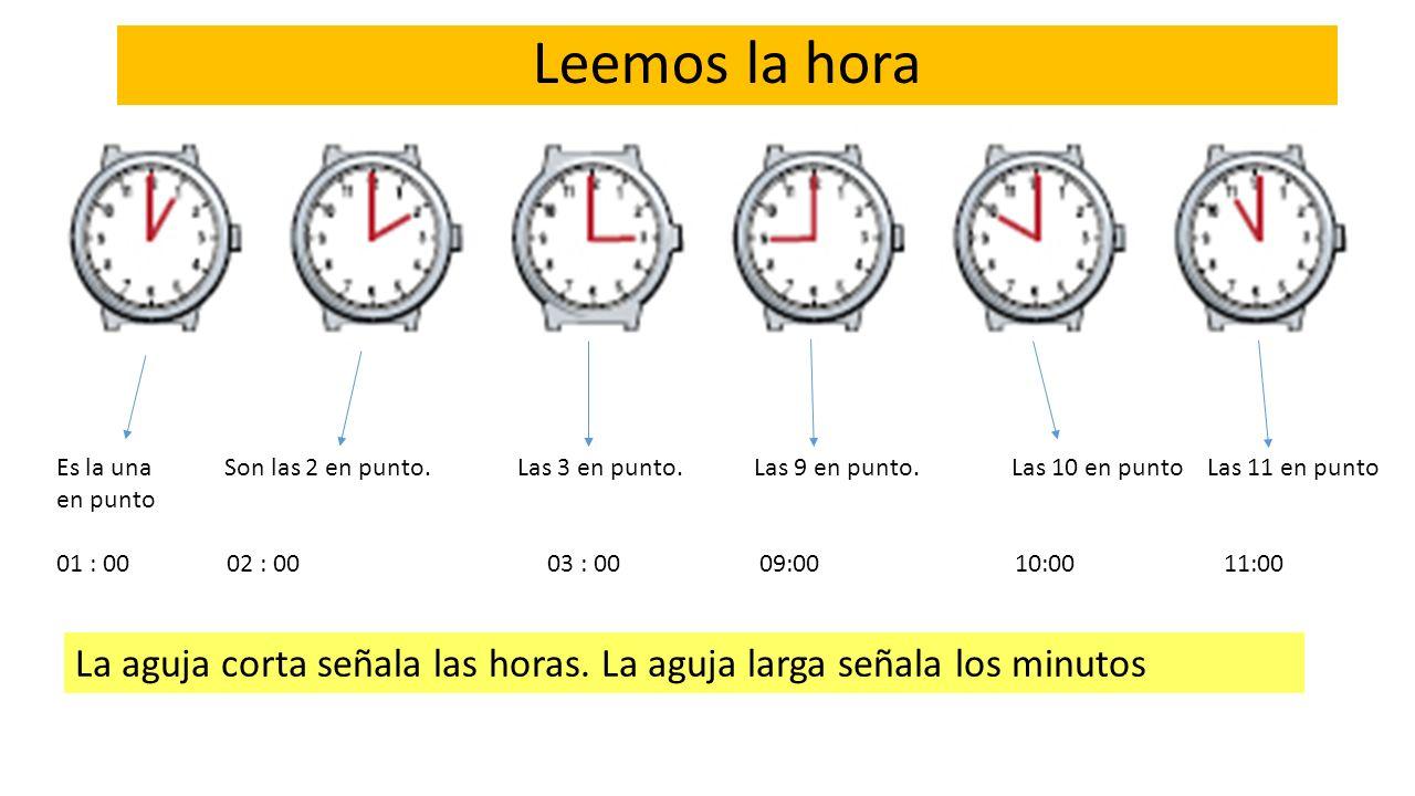 Es la una Son las 2 en punto. Las 3 en punto. Las 9 en punto.Las 10 en punto Las 11 en punto en punto 01 : 00 02 : 00 03 : 00 09:00 10:00 11:00 Leemos