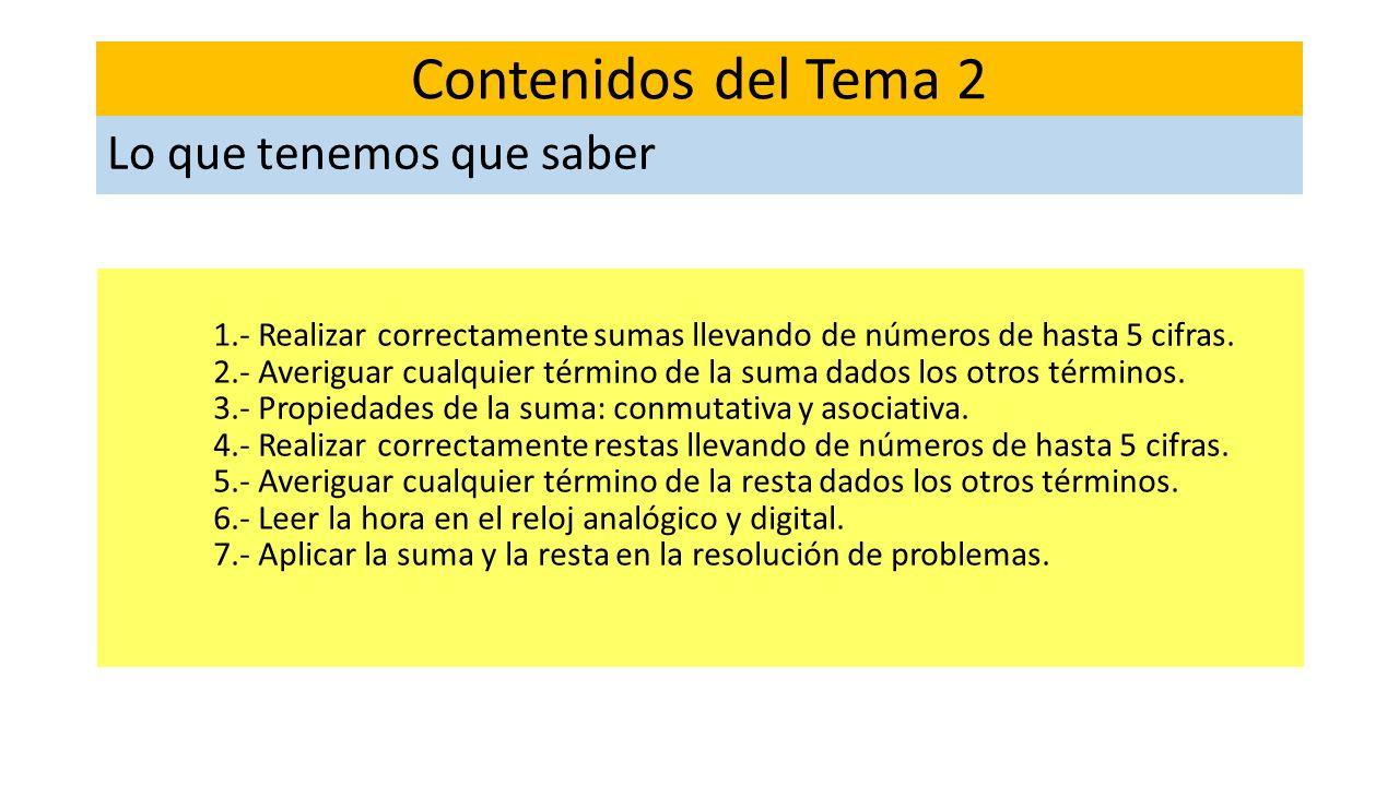 1.- Realizar correctamente sumas llevando de números de hasta 5 cifras. 2.- Averiguar cualquier término de la suma dados los otros términos. 3.- Propi