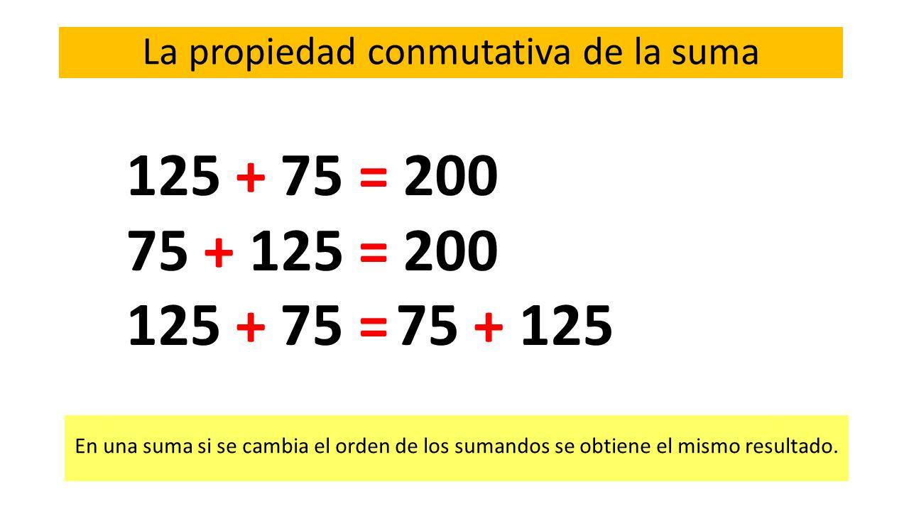 125 + 75 = 200 75 + 125 = 200 125 + 75 = 75 + 125 La propiedad conmutativa de la suma En una suma si se cambia el orden de los sumandos se obtiene el