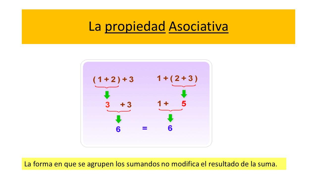 La propiedad Asociativa La forma en que se agrupen los sumandos no modifica el resultado de la suma.